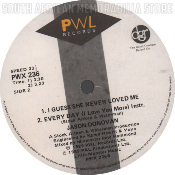"JASON DONOVAN - Every Day (I Love You More) - South African 12"" Maxi Vinyl"