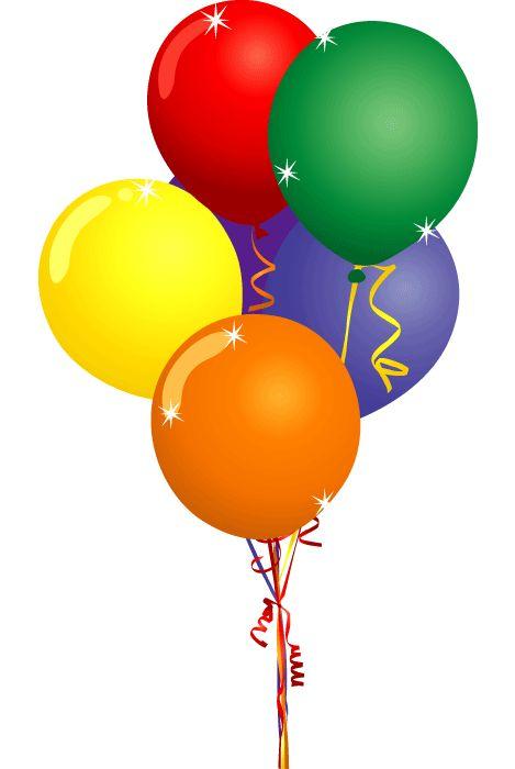 Birthday Balloons Clip Art | Free Party Clipart - Birthday Cake Balloons and Confetti Clip Art