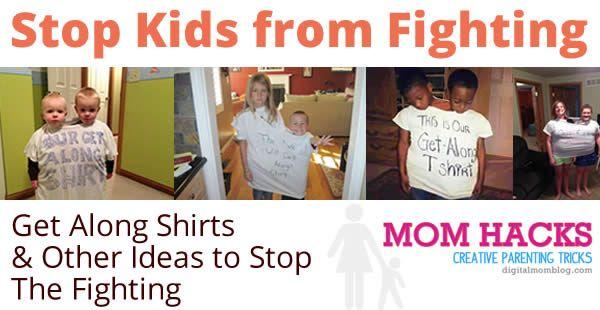 Get along shirt and other ideas for keeping the peace between fighting siblings.