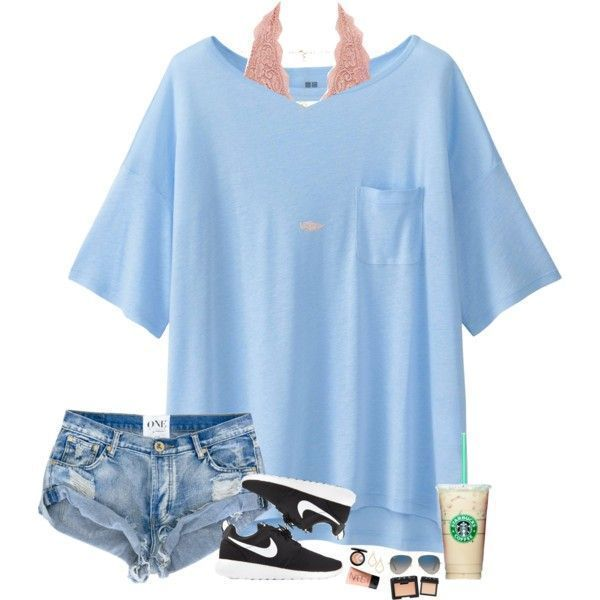 A fashion look from July 2016 by hopemarlee featuring Uniqlo, Charlotte Russe, NIKE, Kendra Scott, Ray-Ban, NARS Cosmetics, MAC Cosmetics and bestiesbacktoschool http://feedproxy.google.com/fashiongoSungalsses1