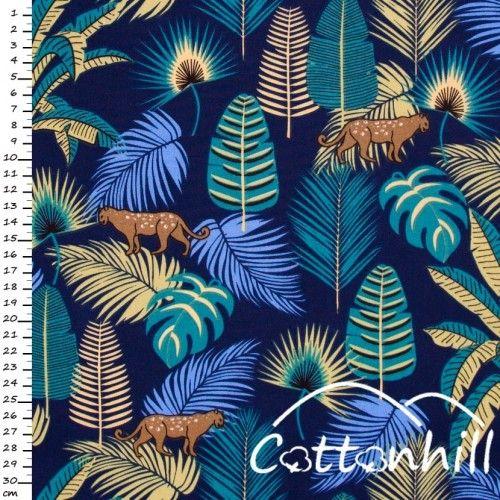 Tkanina bawełniana jungla, pantera, liście tropikalne.