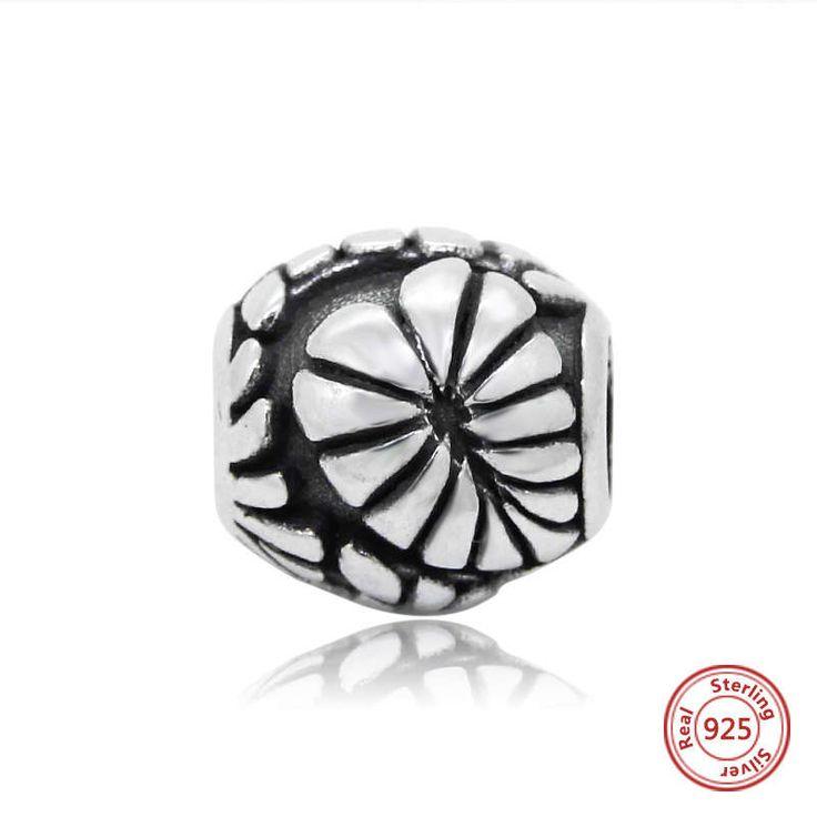 Fiore antico Bead vintage charm 100% argento sterling 925 adatta misure Pandora charm Pandora bead Braccialetto europeo B0060 di OceanBijoux su Etsy