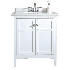 Ove Decors Pure White Undermount Single Sink Birch Bathroom Vanity With Cultured Marble Top Common