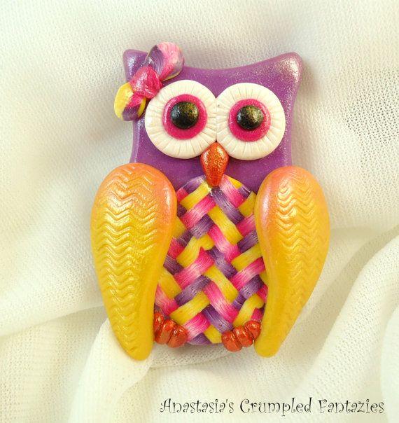 Polymer clay owl brooch Pearl purple pink by CrumpledFantazies