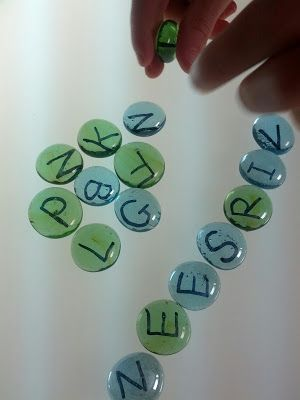 Homemade Alphabet Beads for the Light Box...BRILLIANT!