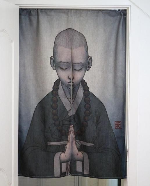 """""""Meditating Monk"""" Cloth Partition Curtain"""