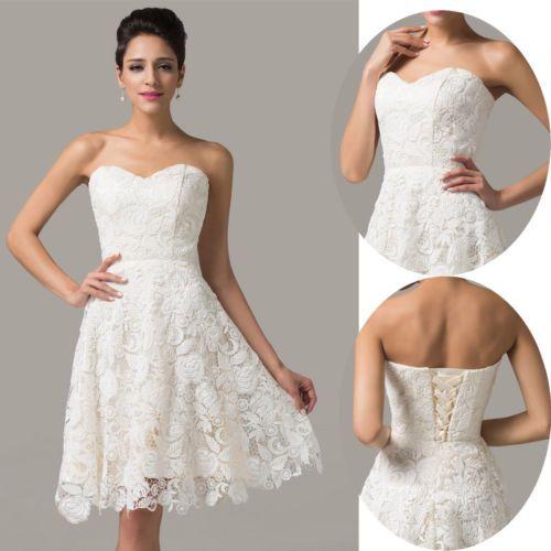 Spitze kurz Ballkleider Partei Brautkleid Abendkleid Hochzeit Brautjungfernkleid in Kleidung & Accessoires, Hochzeit & Besondere Anlässe, Brautjungfern & Bes. Anlässe | eBay