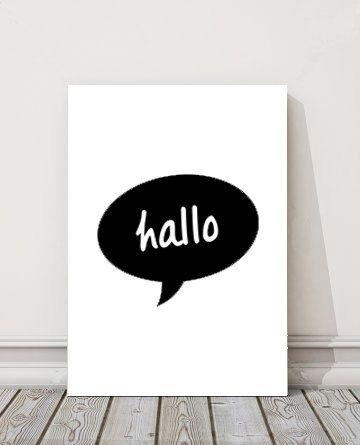 hallo printable art hello downloadable art by BAMdesignshop