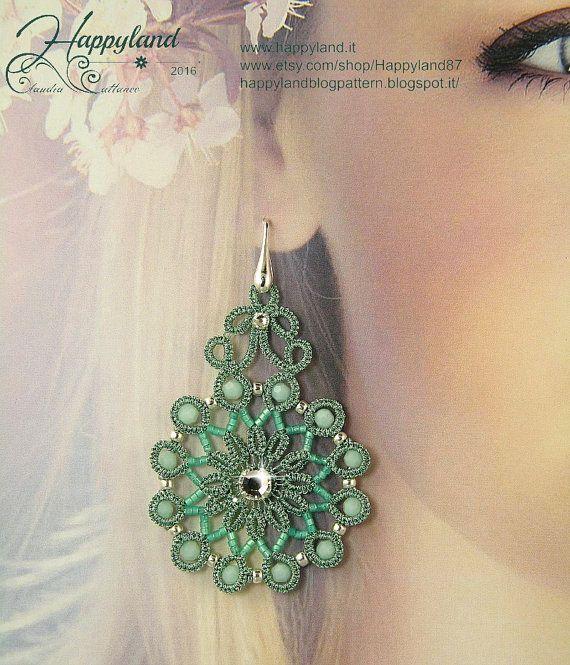 Glamour needle tatting earrings pattern от Happyland87 на Etsy