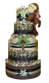 5 Tier Modern (Green and Brown) Monkey Jungle Baby Shower Diaper Cake