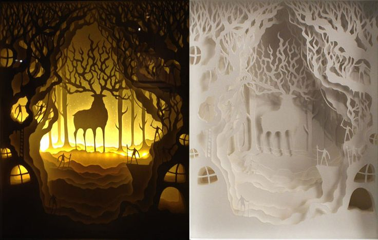 Harikrishan Panicker and Deepti Nair, who both hail from India, go by the duo artist name of Hari & Deepti. Together they create small and large diorama artworks made of intricately cut layered paper lit by LED lights.