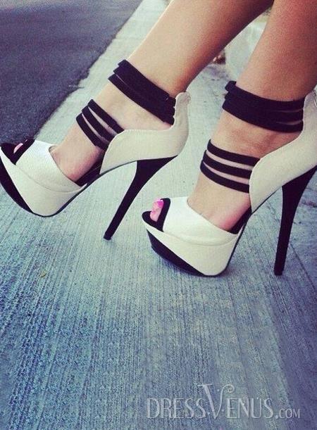 Strechy Strappy Snaky White Platform Stiletto Heel Sandals http://www.dressvenus.com/shop-10869954.html