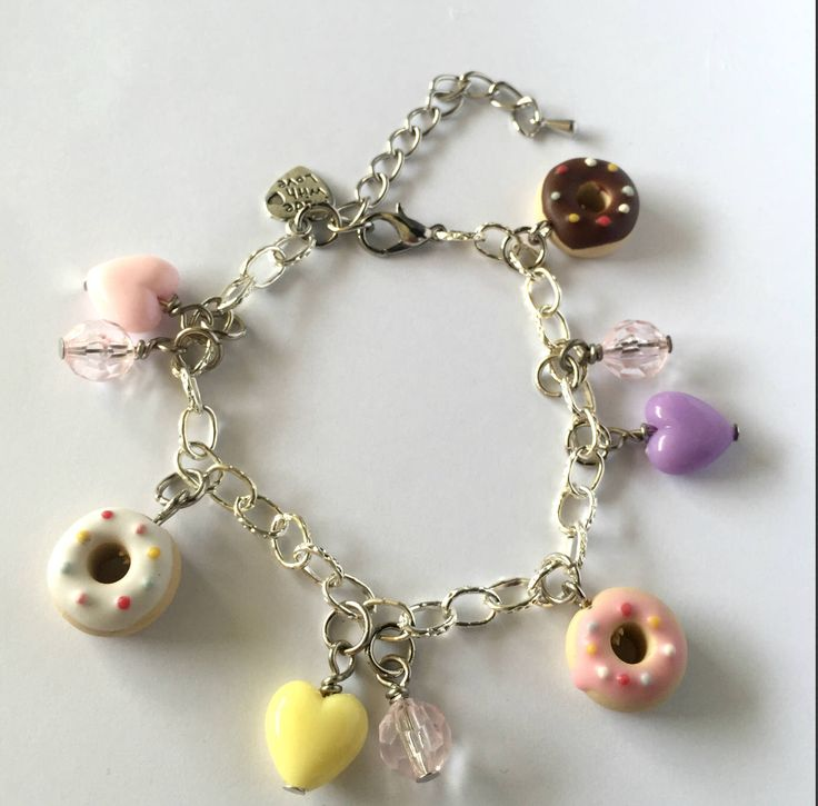 Excited to share the latest addition to my #etsy shop: scented doughnut , vanilla doughnut , strawberry doughnut, chocolate doughnut, kids bracelet, bracelet scented polymer clay charms