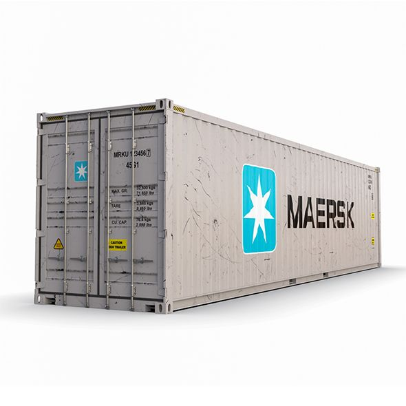 40 Feet High Cube Maersk Shipping Container Model By Junifor Modeled In Maya 2014 All Textures With 5000x5000 Mate Shipping Container Cargo Container Container