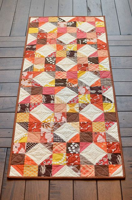Cheyenne Block Fall Table Runner In Orange, Brown, Red, U0026 Yellow Colors.