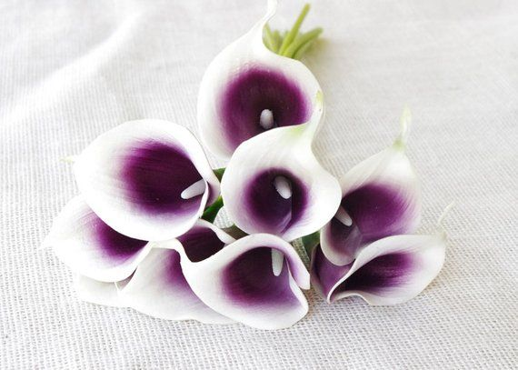 SALE!!!! Silk Calla Lilies, Real Touch Calla Lilies, 9 Purple Picasso Calla Lilies, Silk Flowers, We