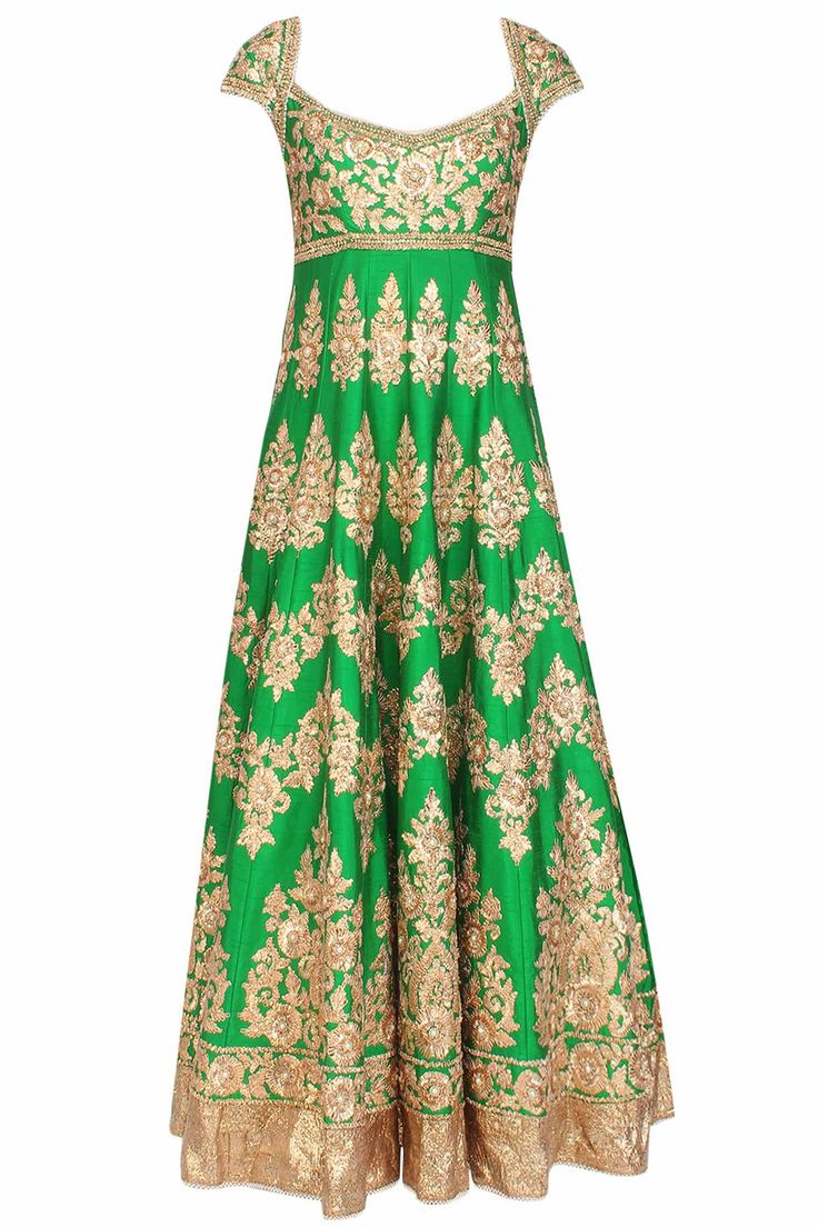 Green gota patti embroidered floral motifs anarkali set available only at Pernia's Pop Up Shop.