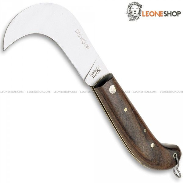 """Professional Grafting Hook Knife STAFOR Italy, gardening and grafting hook knives Stainless Steel Blade Satin finished of high quality - Blade lenght 2.4"""" - Handle made of Wood finely handcrafted and inside of Brass - Overall lenght 5.5"""" - STAFOR Italy Professional Grafting Hook Knife, a truly exceptional product with quality materials and good italian design, light, useful and with a great cutting capacity."""