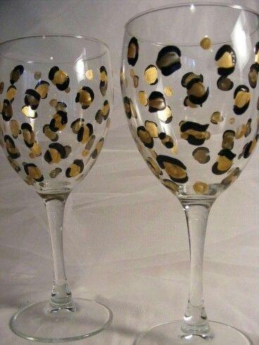 Cheetah print wedding glasses