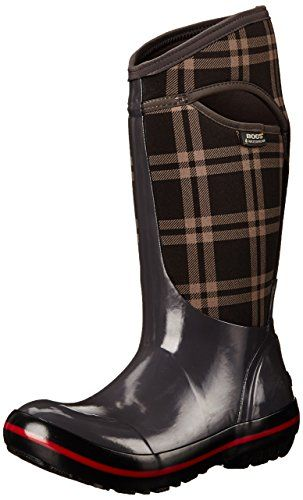 Bogs Women's Plimsoll Plaid Tall Waterproof Insulated Boot, Dark Gray * To view further for this item, visit the image link.