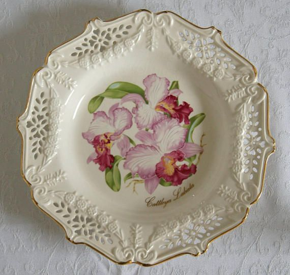 Decorative Crown Davenport Plate The Crown Orchid 1989 Limited Edition From The Garden Of Victoria Collection