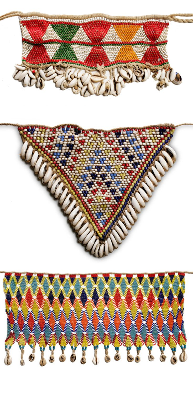 Africa | Modesty aprons (cache-sexe) from Northern Cameroon or Chad | Glass beads, cowrie shells and fiber | 20th century