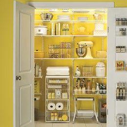 OMG! I want this pantry!!! Yellow. Sunshine. My yellow Kitchenaid mixer in full view. .