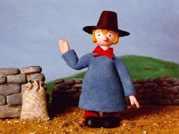 Trumpton - I used to fear for his head and willed him to duck when coming out of that windmill lol!