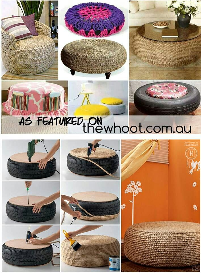 DIY tire furniture upcycle repurpose furniture ottoman chair