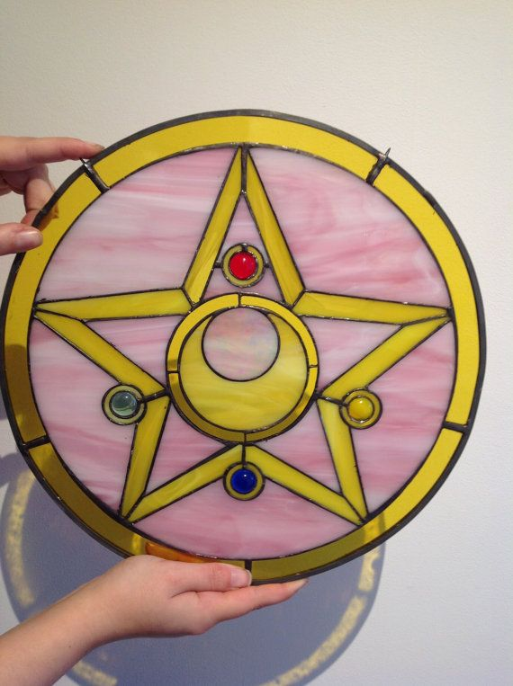 Sailor Moon Brooch inspired glass piece by stainedglassgeek  Never have I been more inspired to do a piece of stain glass