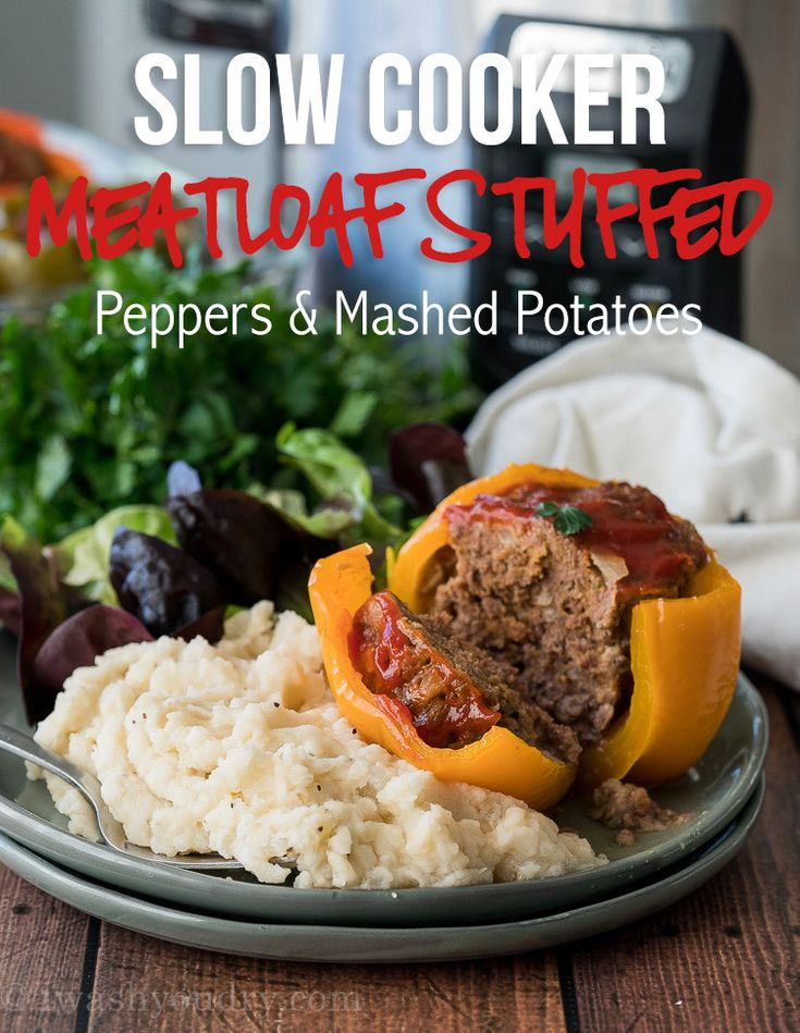 WINNER! LOVE this Crockpot Meatloaf Stuffed Peppers w/Mashed Potatoes! So easy & a complete dinner in one pot!