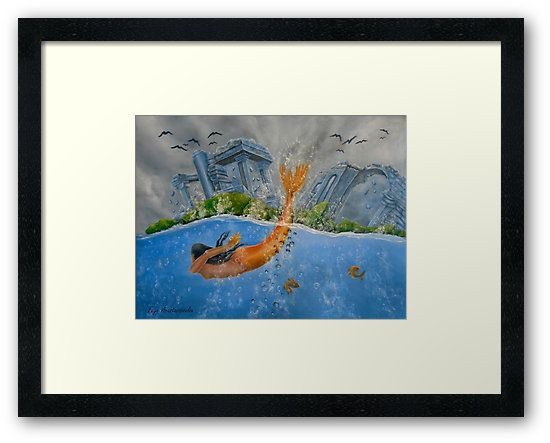Framed, art print, mermaid,diving,swimming,painting,ocean,scene,seascape,wild,aquatic,life,ruins,temples,mythical,mythological,big,fish,vivid,colorful,blue,beautiful,cool,contemporary,realistic,figurative,fine,wall,art,images,home,office,decor,artwork,modern,items,ideas,for sale,redbubble