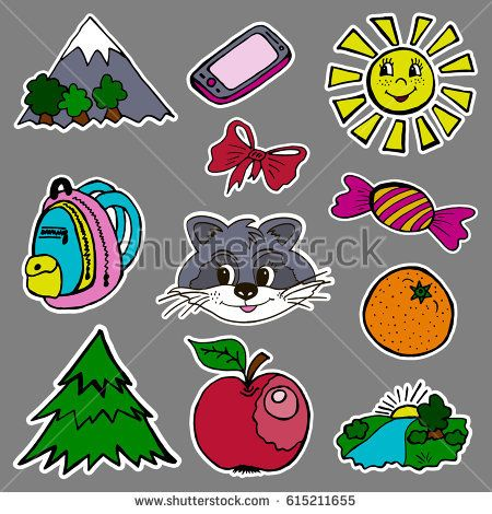 A set of fashion labels, badges. Mountains, sun, bow, candy, raccoon, backpack, fir, orange, apple, river. The images on separate layers. Stickers, pins cartoon  #bubushonok #art #bubushonokart #design #vector #shutterstock  #pattern #set #doodle #banner #sticker #pin #stickers #badges #logos #logo