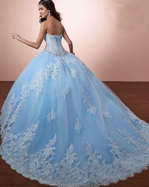 7518c7251f Lace Quinceanera Dresses Beaded Sparkly Sweetheart Puffy Ball Gown vestidos  de quinceañera  quinceaneradress  lightblue