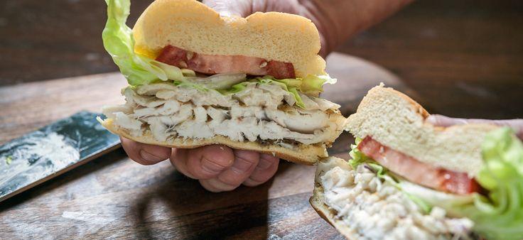 Grilled-Snapper Sandwich with Jerk Jicama-Apple Slaw: Jerk Jicama Apples, Jicama Apples Slaw, Grilled Snapper, Healthy Eating, Jason Schaan, Snapper Sandwiches, Grilled Snapp Sandwiches, Sandwiches Snapper, Tastingt Sandwiches