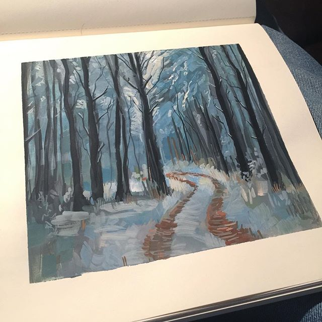 #art #drawing #sketch #sketching #instaart #instasketch #painting #paint #quick #moleskine  #winsorandnewton #gouache #brush #forest #woods #trees #snow #landscape #doodle