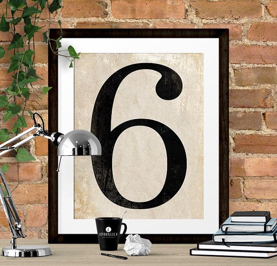 Number Six Art Print Numerology Vintage Number Decor by SpoonLily