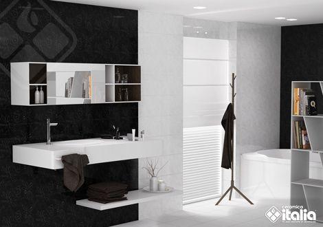 En los colores para baños, la combinación del blanco y del negro nunca pasarán de moda, al ser colores de extremos opuestos dan como resultado una decoración de baños elegante y sobria. #ElBañoQueTeMereces #CerámicaItalia #ColoresBaños