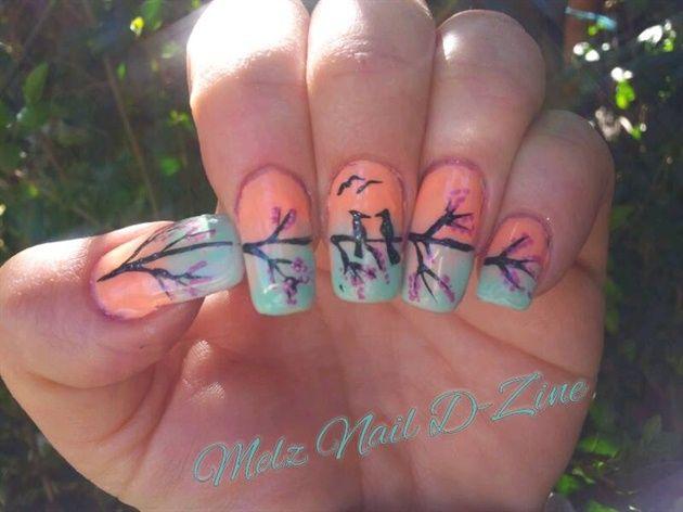 Nail art makeup: tramonto