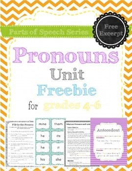 This is a short freebie excerpt of my pronouns unit. It includes the first lesson of the unit, including a game, practice page (with answer key) and posters with the definitions of pronoun and antecedent. Download it to get a taste of what all of the units in the parts of speech series are like.