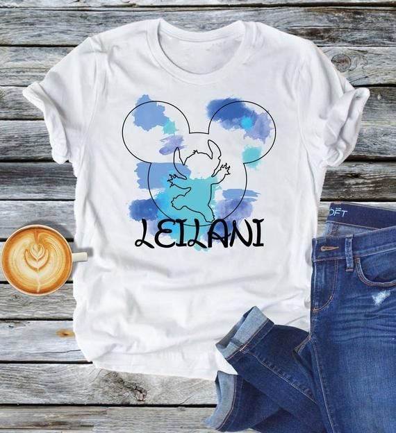 Stitch Mickey Mouse Watercolor Shirt Princess Personalized Name