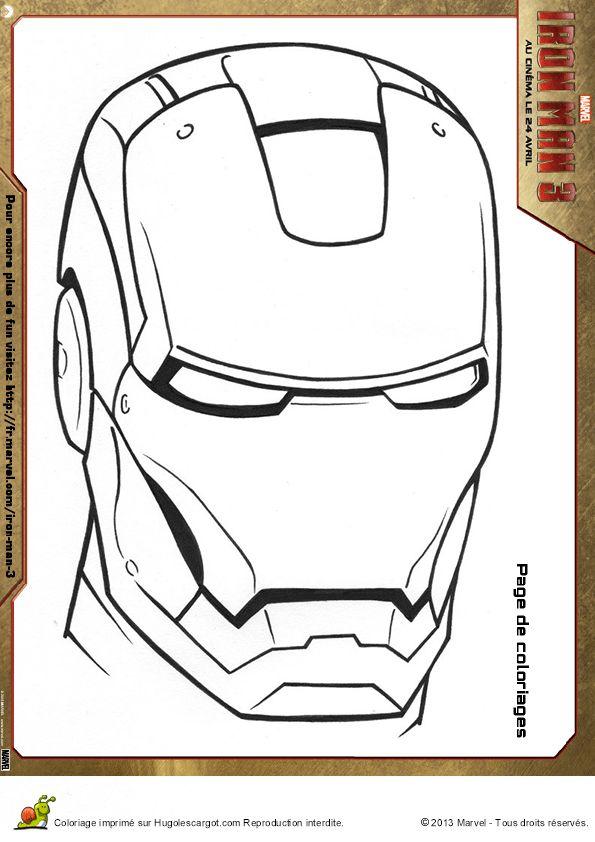 Coloriage masque iron man - Hugolescargot.com
