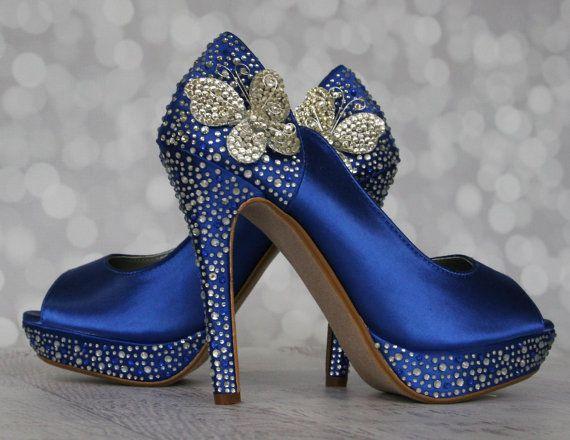 Wedding Shoes Royal Blue Peep Toe Wedding by DesignYourPedestal, $285.00
