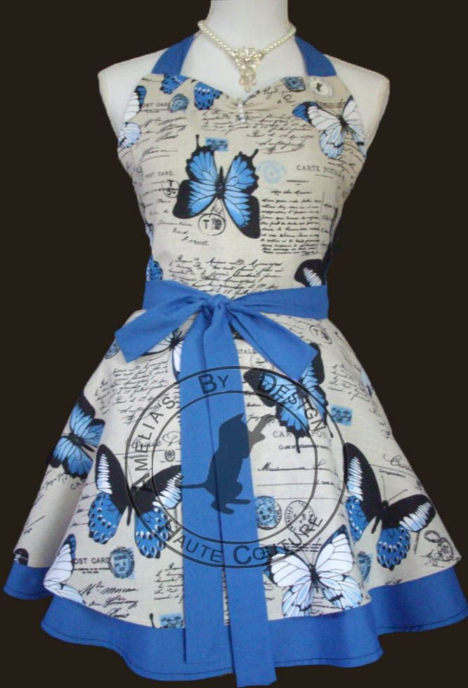 Vintage Ulysses Blue Butterfly print apron