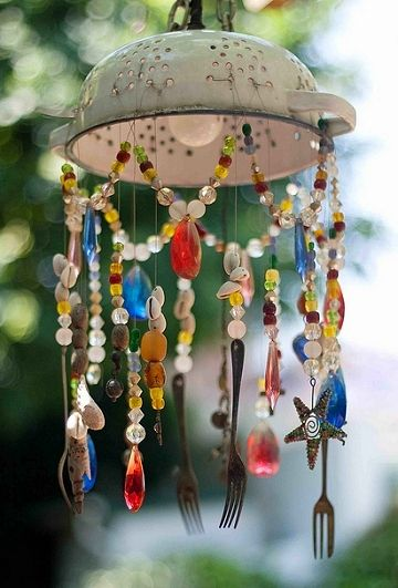 DIY colander beads garden light windchime Dishfunctional Designs: The Upcycled Garden Volume 7: Using Recycled Salvaged Materials In Your Garden