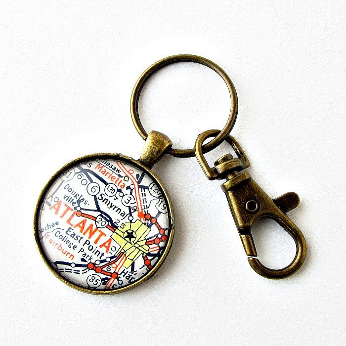 Nashville Map Keychain made from 1964 AAA South Eastern States Map / $20 by salvagedstudiomke on Etsy / one of a kind / Nashville Tennessee / Christmas Gifts for Guys / gifts Under 25 for men / Christmas gift for boss / fun stocking stuffers for men / Tennessee home