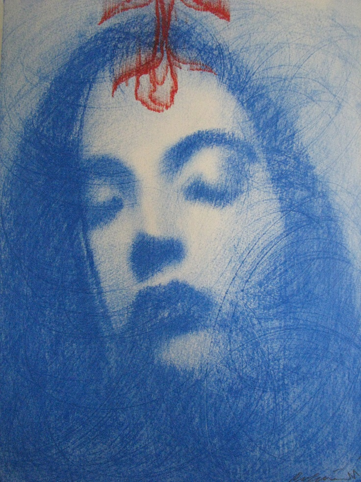 Omar Galliani Blue Oltremare 1 Pastel on paper  37.5 x 28 cm available at 3A The Excellence of Art  in Mauritius
