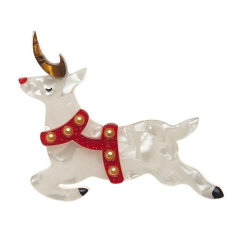 "Erstwilder Limited Edition Now, Prancer Brooch. ""On Comet! On Cupid! And so on. Why should that red-nosed chap have all the Yuletide fun."""