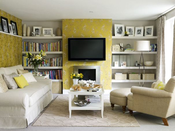 Decoration, Drop Dead Gorgeous Yellow Wallpaper Living Room Interior Ideas With Lcd Tv Unit Hanging On The Wall Also Bookshelf Pictures Frame Comfy Elegant Grey Sofa And Cushions Coffee Table: Looking for The Greatest And Comfortable Yellow Room Ideas