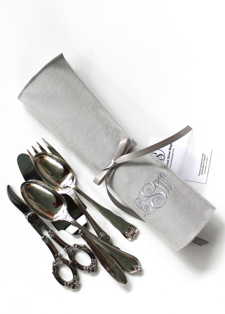 Anti Tarnish Flatware Rolls for 6 Silver Serving Pieces - Silver Flatware Silverware Storage, Flatware Storage, Simple Elegance Collection